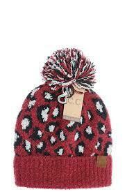 CC Hat maroon leopard print