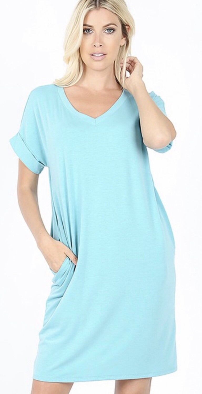 Zenana Short Sleeve Cuffed V-Neck Dress