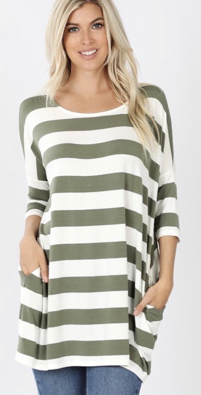 Zenana Striped Box Top w/Pockets