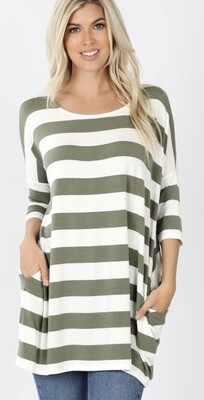 Zenana Striped Box Top w/Pockets