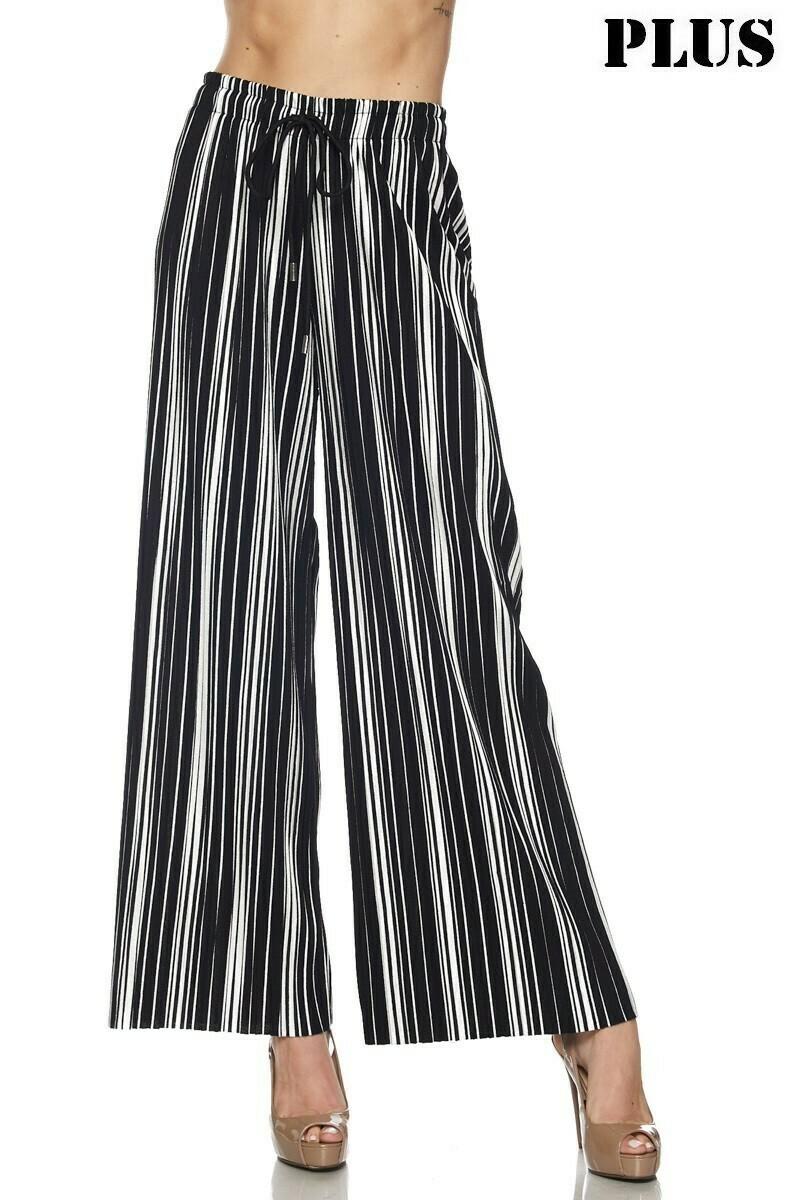 New Mix White & Black Striped Pants