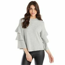 Mud Pie Dawson Ruffle Sweater Gray