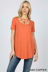 Zenana web detailed front short sleeve top