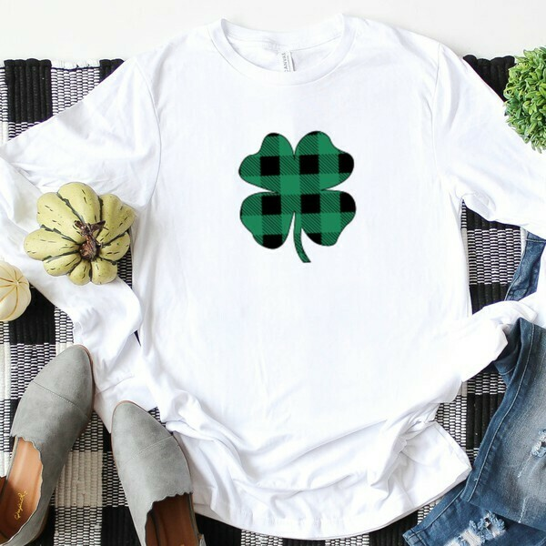 Black/Green Plaid Clover L/S White Shirt