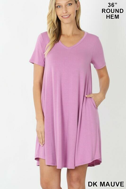 Zenana Short Sleeve V-Neck A Line Dress