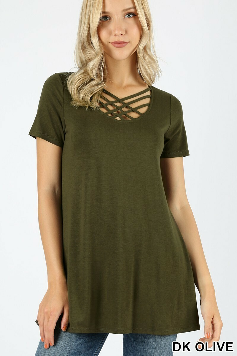 Zenana Short Sleeve Triple Lattice Top