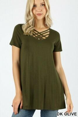 Zenana Short Sleeve Triple Lattice Top