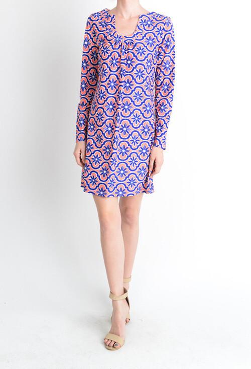 Blue/Salmon L/S Horseshoe Neck Dress