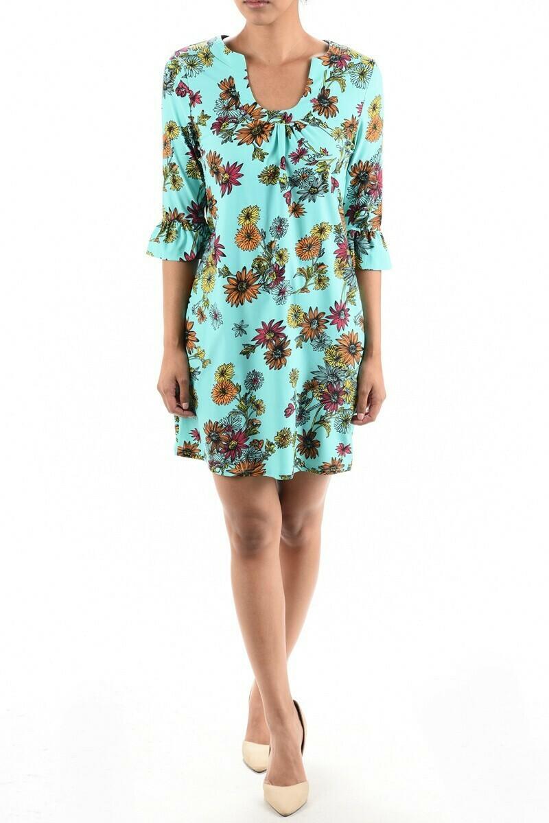 Turquoise Floral Ruffle Slv Horseshoe Neck Dress