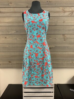 Red/Turquoise Floral Tank Dress Flare