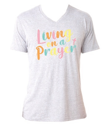 Jane Marie Living on a Prayer V-Neck Tee