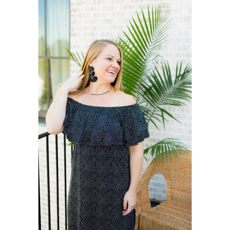 Mary Square Dress Ruffle Maxi Starry Night