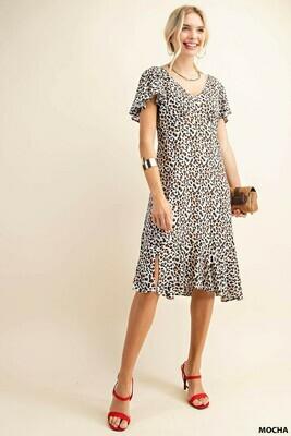 Kori America Leopard Print Cap Sleeve Ruffle Dress