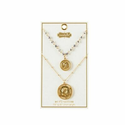 Mudpie Coin Layering Necklace- Coin