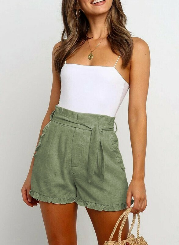 Lily High Waist Olive Tie Shorts