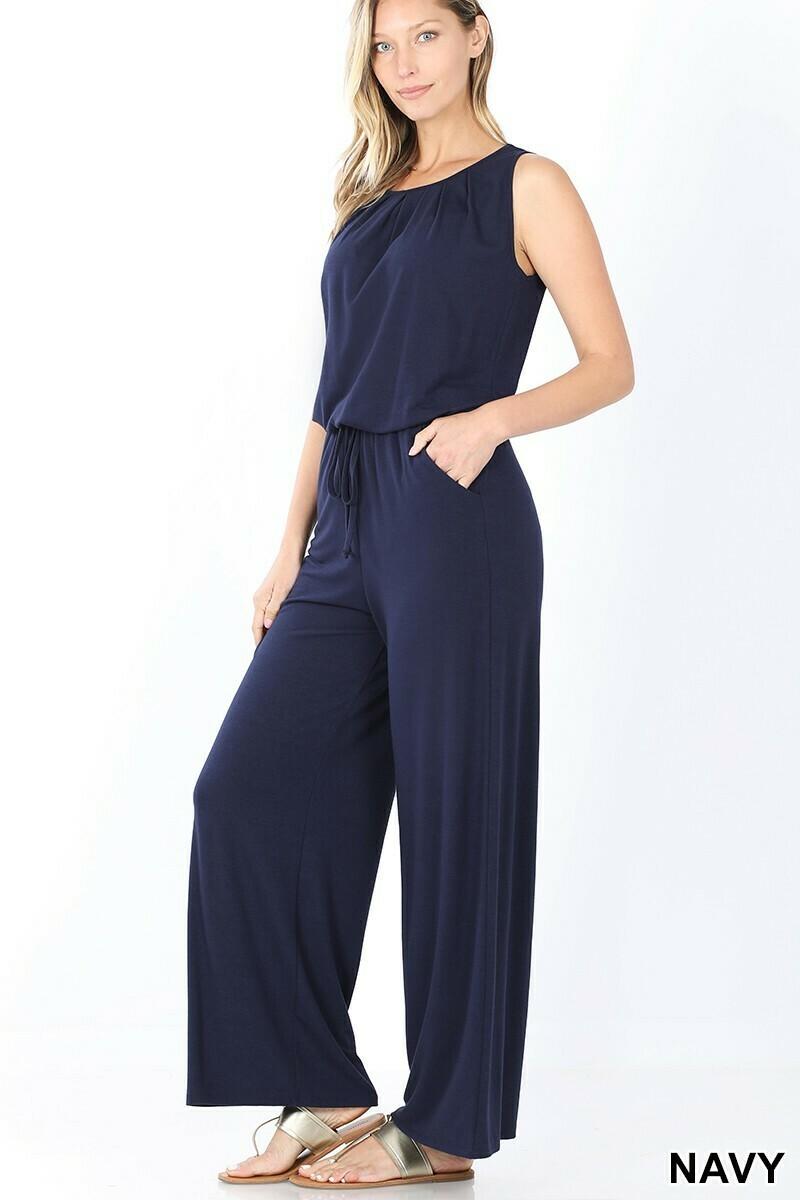 Zenana Sleeveless Jumpsuit with Pockets