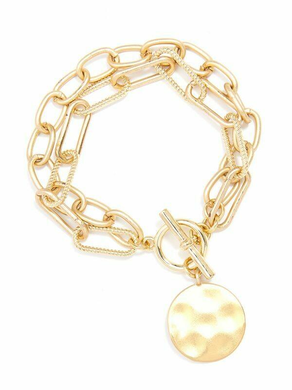 Zenzii Oval & Paper Clip Links Coin Bracelet