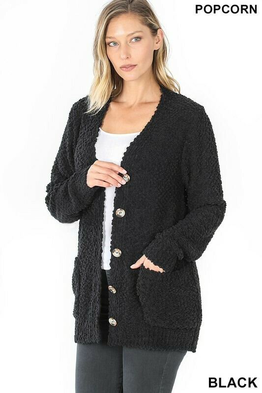 Zenana Button Up Popcorn Cardigan