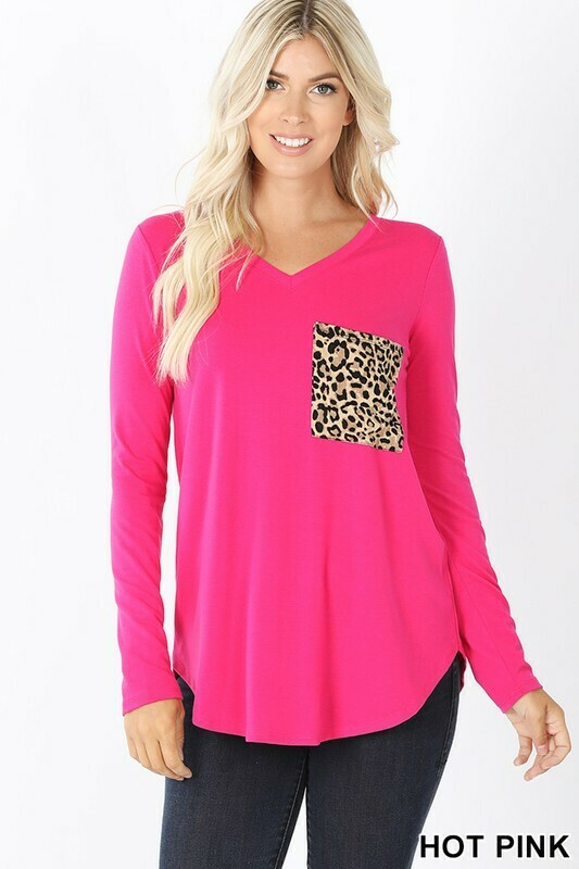 Zenana Long Sleeve Leopard Pocket Top