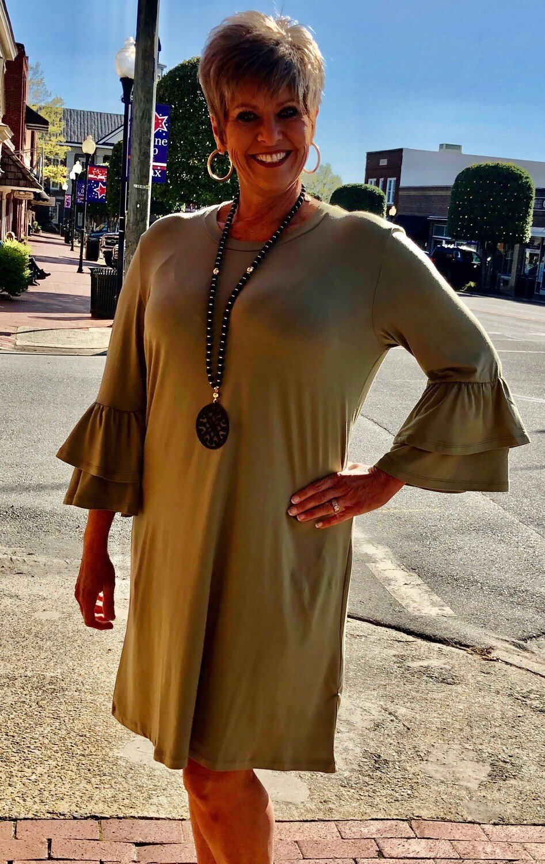 Mary Square Olive Ruffle Sleeve Dress