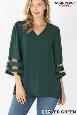 Zenana 3/4 Mesh Bell Sleeve Top