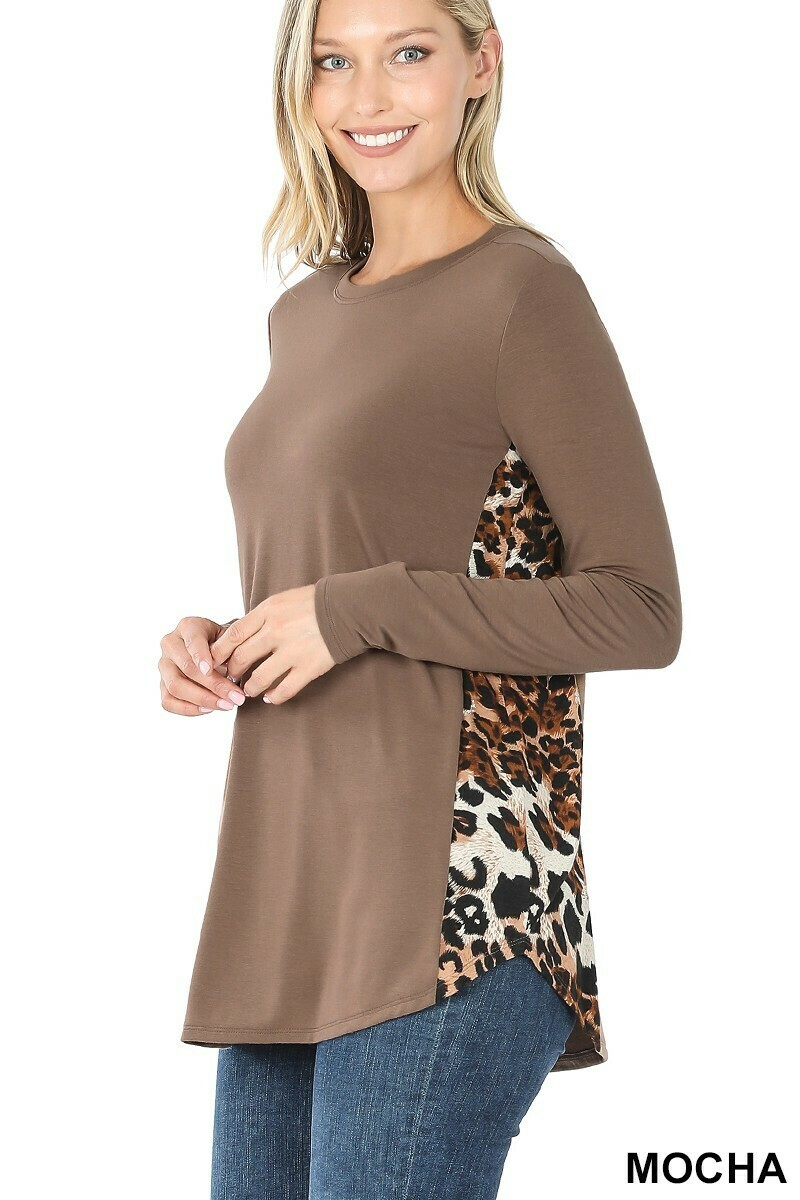 Zenana Leopard Contrast Side Panel Long Sleeve Top