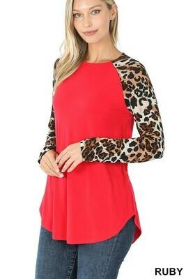Zenana Raglan Leopard Print Long Sleeve Top