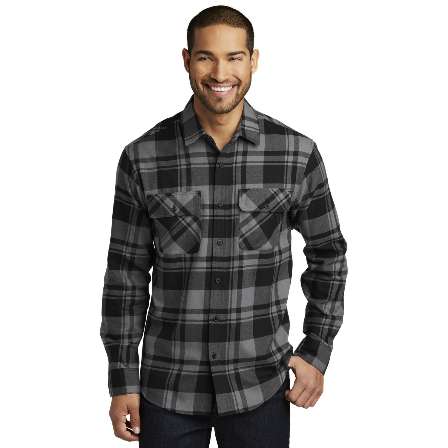 Port Authority Flannel Plaid Black/Grey LS
