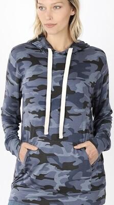 Zenana Camouflage Hoodie Top w/Kangaroo Pocket