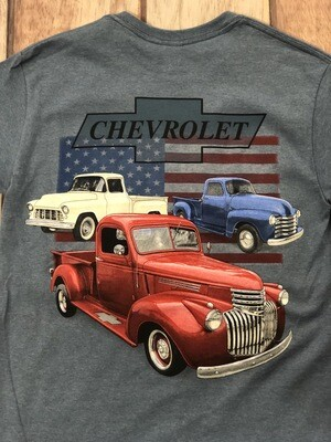 Chevrolet Red White Blue Retro Trucks short sleeve