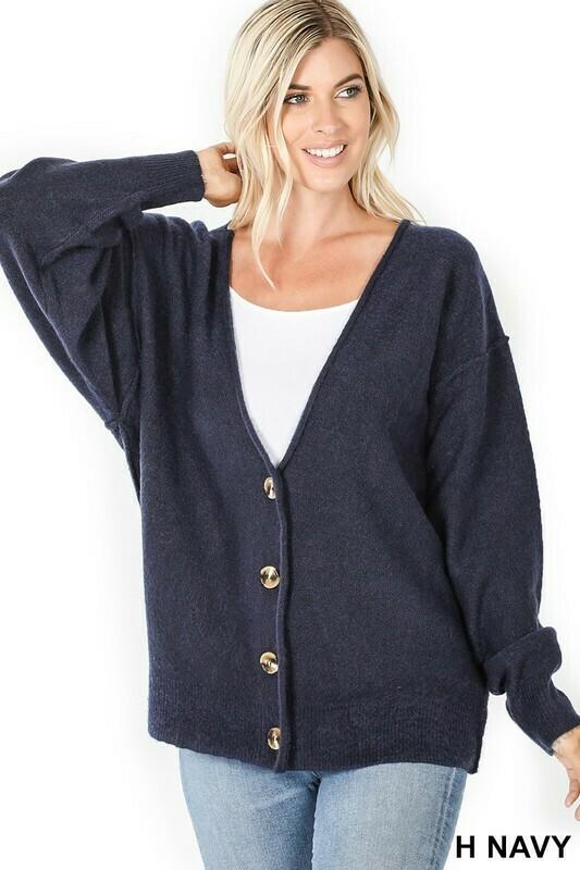 Zenana Navy Button Down Sweater Cardigan