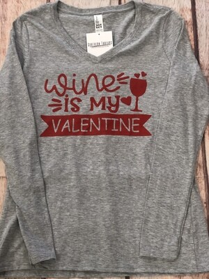 Wine Is My Valentine Long Sleeve Grey/Red
