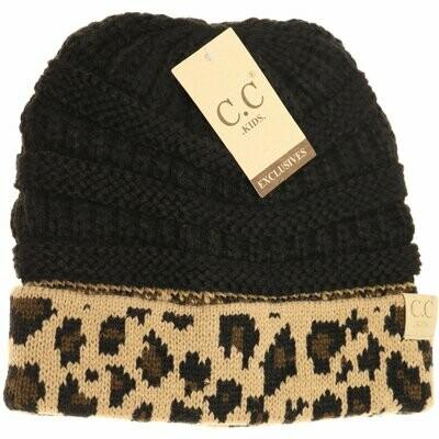 CC Beanie Youth Leopard Cuff Beanie