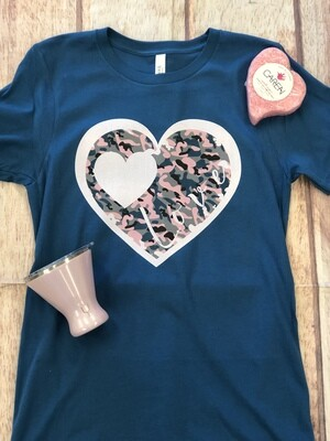 Camo Love Heart on Bella+Canvas