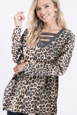 Heimish Leopard Bar Detail Top