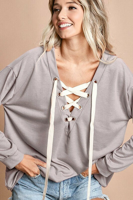 Bibi French Terry V-Neck Lace Up Top