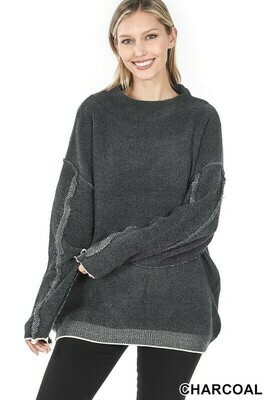 Zenana Oversized Mock Neck Sweater