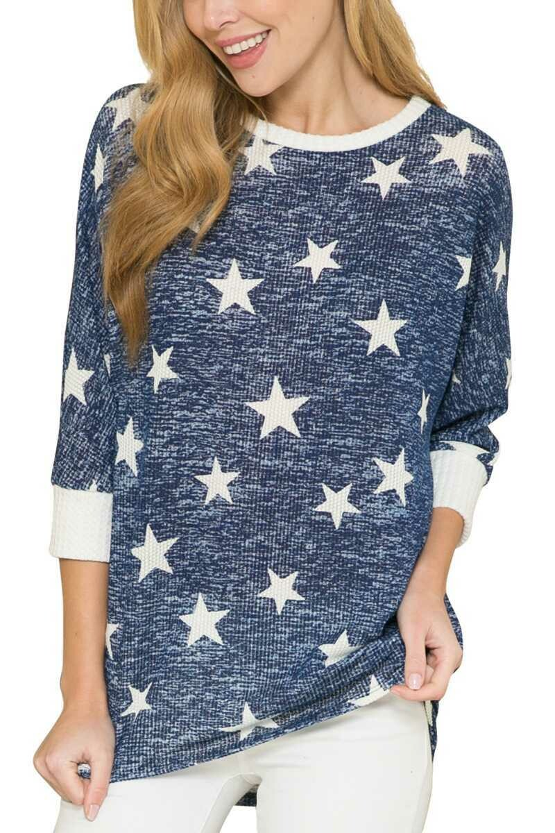 Acting Pro Navy Star Contrast 3/4 Sleeve Top