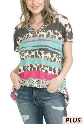 Now & Forever PLUS Brush Striped Animal Print Top