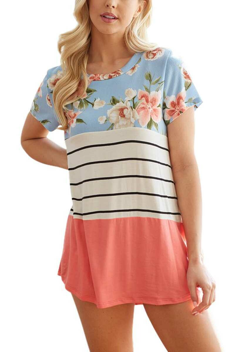 Lovely Melody Floral with Stripe Block