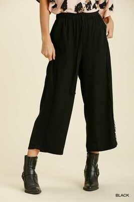 Umgee Black Linen Frayed Wide Leg Pants