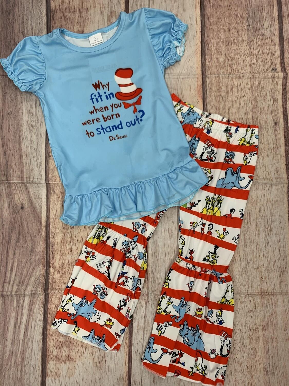 Kids Dr. Seuss Blue Bell Pants Set