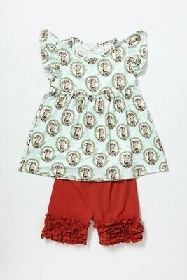 Kids Cow Print Short Sets