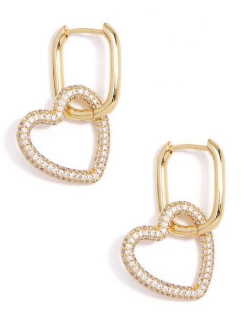 Zenzii Classic Crystal Heart Link Drop Earrings