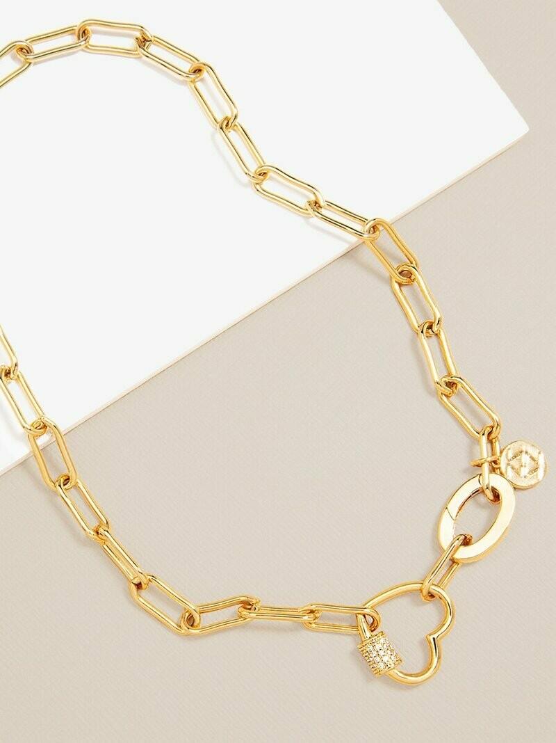 Zenzii Crystal Heart Chain Collar Necklace