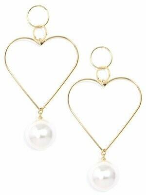 Zenzii Heart and Pearl Drop Earring