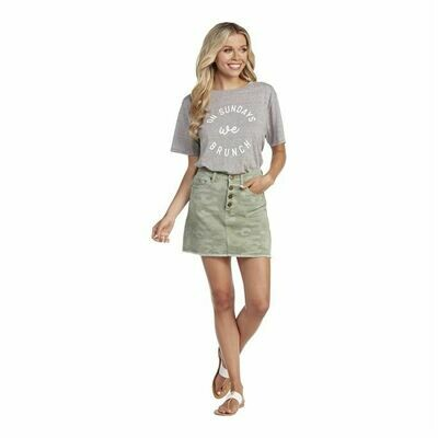 Mud Pie Windsor Button Fly Camo Skirt