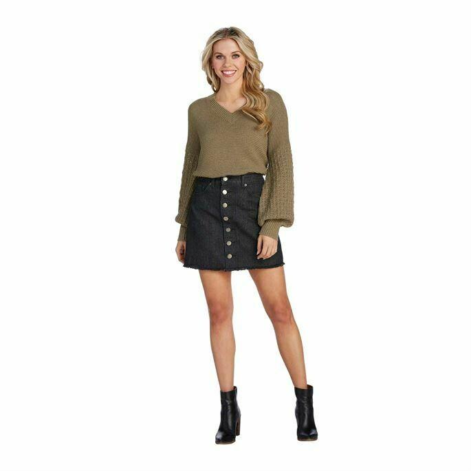 Mud Pie Fitz Button Front Black Denim Skirt