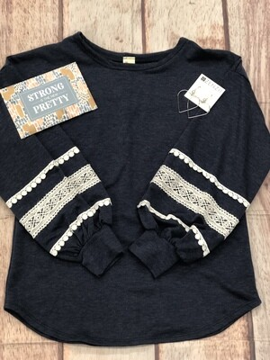 7th Ray Lace Trim Drop Shoulder Navy Top