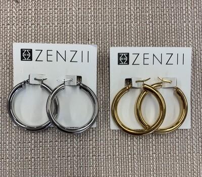 Zenzii Small Chunky Metal Hoop Earrings